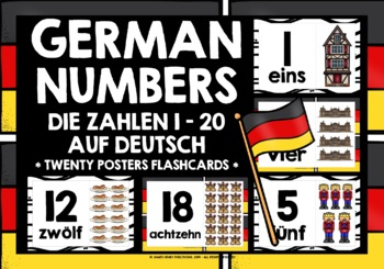 GERMAN NUMBERS 1-20 FLASHCARDS POSTERS