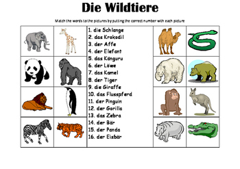 GERMAN -Picture Match - die Wildtiere (wild animals)