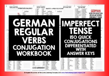 GERMAN REGULAR VERBS CONJUGATION - IMPERFECT TENSE WORKBOOK & ANSWER KEY