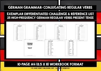 GERMAN REGULAR VERBS CONJUGATION - PRESENT TENSE WORKBOOK & ANSWER KEY