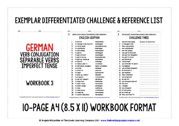 GERMAN SEPARABLE VERBS CONJUGATION IMPERFECT TENSE WORKBOOK WITH ANSWER KEY