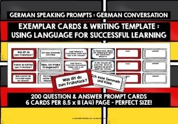 GERMAN SPEAKING PROMPTS - 200 CARDS & REFERENCE BOOKLETS (SETS 1 & 2)