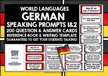 GERMAN SPEAKING PRACTICE (1&2) - 100 Q & A PROMPT CARDS -