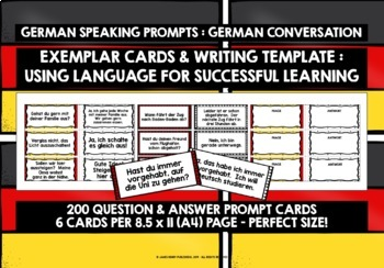 GERMAN SPEAKING PROMPTS (3 & 4) - 200 PROMPT CARDS & REFERENCE BOOKLETS