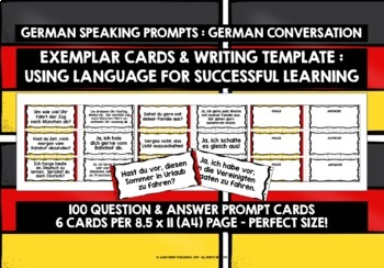 GERMAN SPEAKING PROMPTS - 100 PROMPT CARDS & REFERENCE BOOKLET (3)