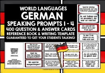 GERMAN SPEAKING PROMPTS - 400 CARDS WITH REFERENCE BOOKLETS - SETS 1-4