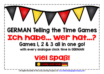 GERMAN TELLING THE TIME 3 GAMES BUNDLE - I HAVE, WHO HAS?