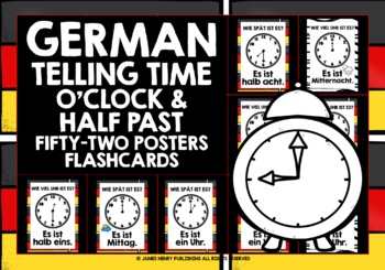 GERMAN TELLING THE TIME POSTER PACK (1) - O'CLOCK, HALF PA