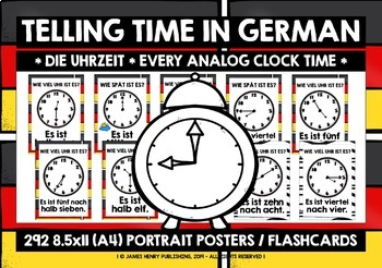 GERMAN TELLING TIME POSTERS/FLASHCARDS - EVERY ANALOG CLOCK TIME!