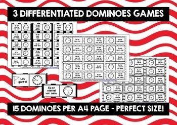 GERMAN TELLING TIME - 3 DIFFERENTIATED DOMINOES GAMES (1)