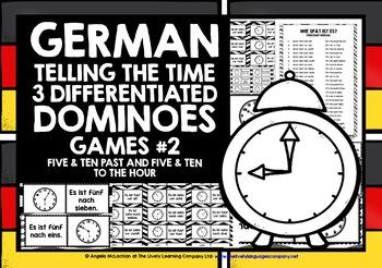 GERMAN TELLING TIME - 3 DIFFERENTIATED DOMINOES GAMES (2)