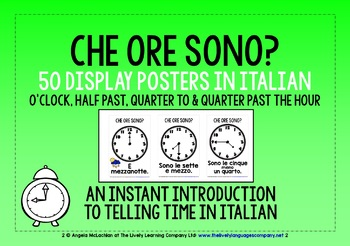 ITALIAN TELLING TIME 50 POSTERS / FLASHCARDS (1)