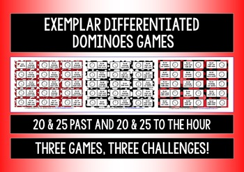 GERMAN TELLING TIME - 9 DIFFERENTIATED DOMINOES GAMES - ALL ANALOG CLOCK TIMES!