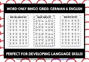 GERMAN TIME BINGO O'CLOCK & HALF PAST
