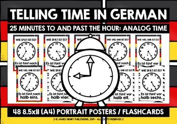 GERMAN TELLING TIME POSTERS FLASHCARDS #6