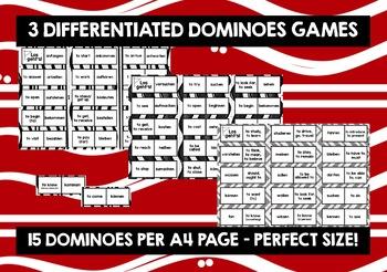GERMAN VERBS (1&2) - SIX DIFFERENTIATED DOMINOES GAMES - 198 VERBS