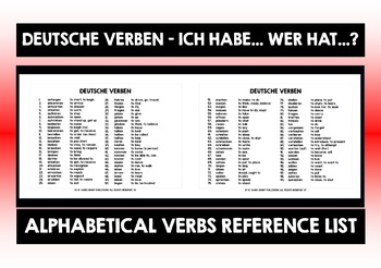 GERMAN VERBS I HAVE, WHO HAS?