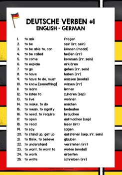 german verbs 25 must have verbs reference list 1 by lively learning classroom. Black Bedroom Furniture Sets. Home Design Ideas