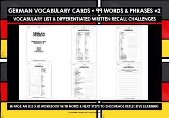 GERMAN VOCABULARY CARDS & WORKBOOK 2