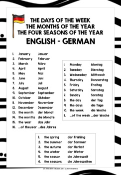 GERMAN VOCABULARY REFERENCE LIST - DAYS, MONTHS, SEASONS