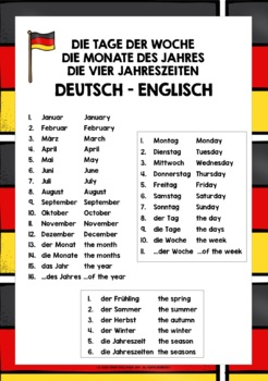 GERMAN DAYS, MONTHS, SEASONS VOCABULARY REFERENCE LIST