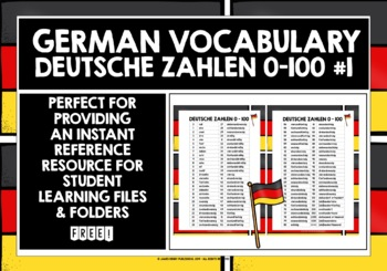 GERMAN NUMBERS 0-100 VOCABULARY REFERENCE LIST