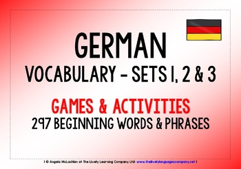 GERMAN VOCABULARY SETS 1, 2 & 3 - GAMES & ACTIVITIES