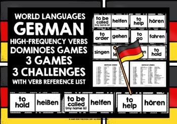 GERMAN VERBS (1) - 3 DIFFERENTIATED DOMINOES GAMES - 99 VERBS