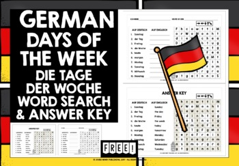 GERMAN WORD SEARCH DAYS OF THE WEEK