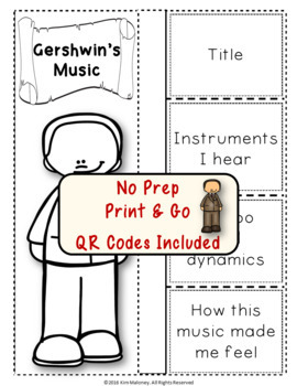 Music Composers: GERSHWIN Foldables: Music Listening Activities