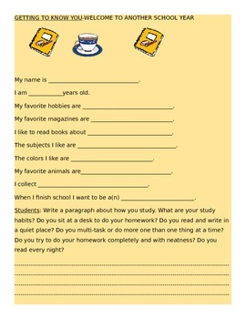 GETTING TO KNOW YOU ACTIVITY SHEET! GRADES 3-7