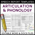 Articulation & Phonology Speech Evaluation Report Template