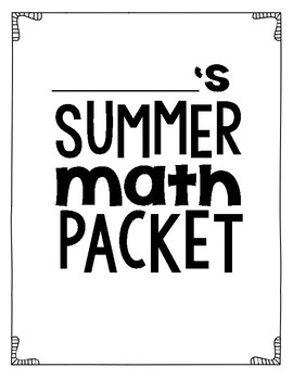 Getting Ready For 3rd Grade (a summer packet for 2nd graders)