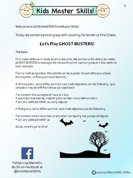 GHOST BUSTERS! Fine Motor Halloween Activity (with math!)