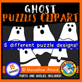 GHOST PUZZLES CLIPART: GHOST CLIPART PUZZLE TEMPLATES: HAL