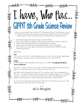 GIANT 4th and 5th Grade Science Review: I Have, Who Has Game