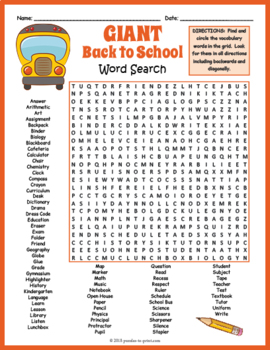 This is a graphic of Sassy Back to School Word Search Printable