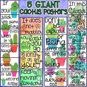 GIANT Cactus Motivational Classroom Posters