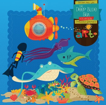 Marine Life Ocean clip art and papers