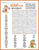 Autumn Activity: GIANT Fall Word Search Puzzle Worksheet