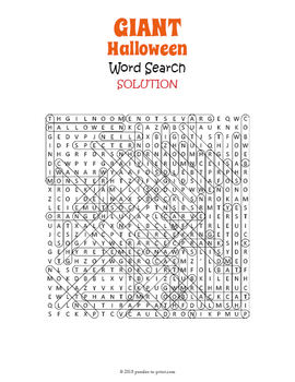 GIANT Halloween Word Search Puzzle
