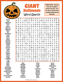 No Prep Halloween Activity Giant Halloween Word Search Puzzle Worksheet
