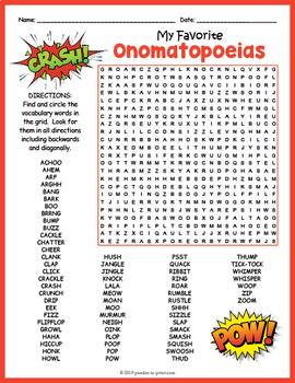 Onomatopoeia Activity - GIANT Word Search Puzzle
