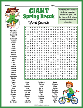 GIANT Spring Break Word Search Puzzle by Puzzles to Print ...