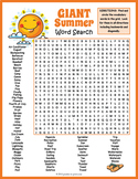 End of the Year Worksheet - GIANT Summer Word Search Puzzle