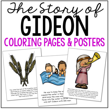 GIDEON Bible Story Coloring Pages and Posters, Craft Activity | TpT