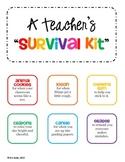 GIFT Teacher Survival Kit Tags - for a New Teacher or Student Teacher