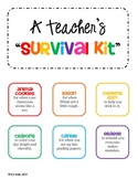 GIFT Teacher Survival Kit Tags - for a New Teacher or Stud