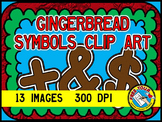 GINGERBREAD CLIP ART - GINGERBREAD SYMBOLS + - ÷ × < > , .