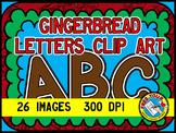 CHRISTMAS CLIPART (GINGERBREAD ALPHABET LETTERS CLIP ART) UPPERCASE